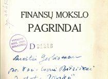 Vl. Jurgučio dedikacija Teisės fakulteto dekanui, Bibliotekos direktoriui prof. Vaclovui Biržiškai