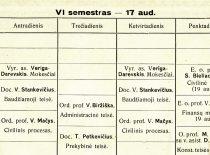 Teisės fakulteto 1933 m. pavasario semestro paskaitų tvarkaraštis (ištrauka)